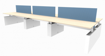 Elektrische Ergo 6-persoons bench werkplek