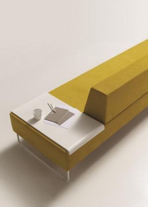 Bank Tris 200 cm laag met tijdschriftenplateau geel