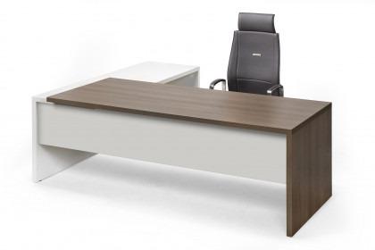 Directiebureau Luzo met aanbouw donker blad met stoel