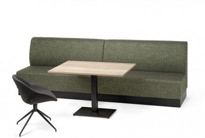 Wandbank op maat Trendo groen met tafel en stoel Verle