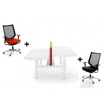 Duo bureau (mechanisch) + bureaustoelen