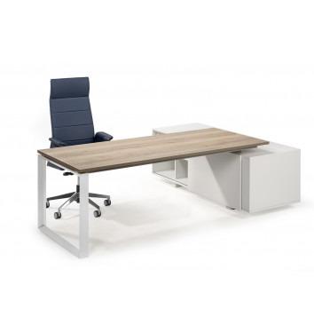 Directiebureau Dia met aanbouwkast wit onderstel eikenhout blad achterkant met stoel