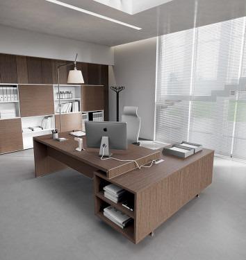 Directiebureau Jork met aanbouwkast in houtdecor