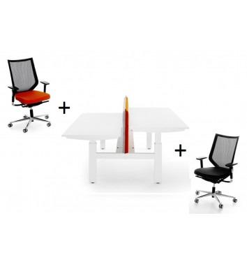 Duo spindelbureau + Bureaustoelen