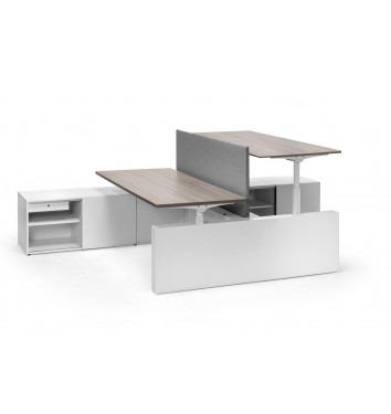 Ergo 2-persoons bench werkplek met aanbouwkast (elektrisch verstelbaar)