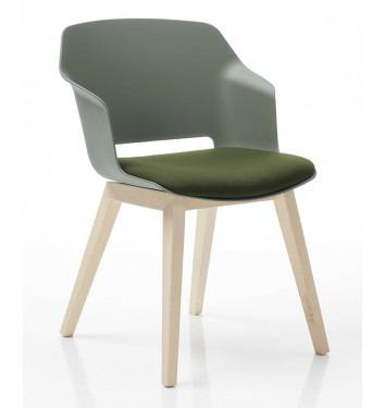Vergaderstoel Clip groene zitschaal houten vierpoot onderstel gestoffeerde opdek schuin