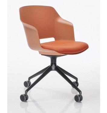 Vergaderstoel Clip oranje zitschaal zwart verrijdbaar onderstel gestoffeerde opdek schuin